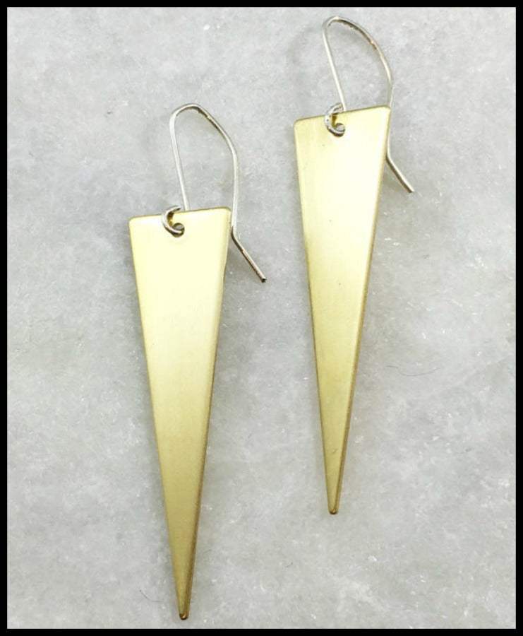 Long Brass Triangle Earring