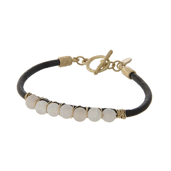 Matte White Agate Bead Leather Cord Bracelet