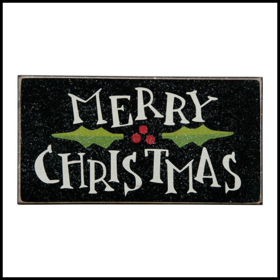 Merry Christmas with Holly Sign