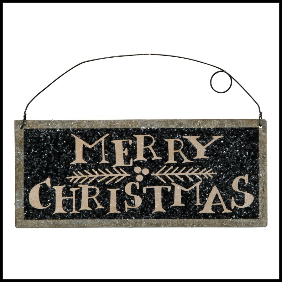 Merry Christmas Tin Sign, Black