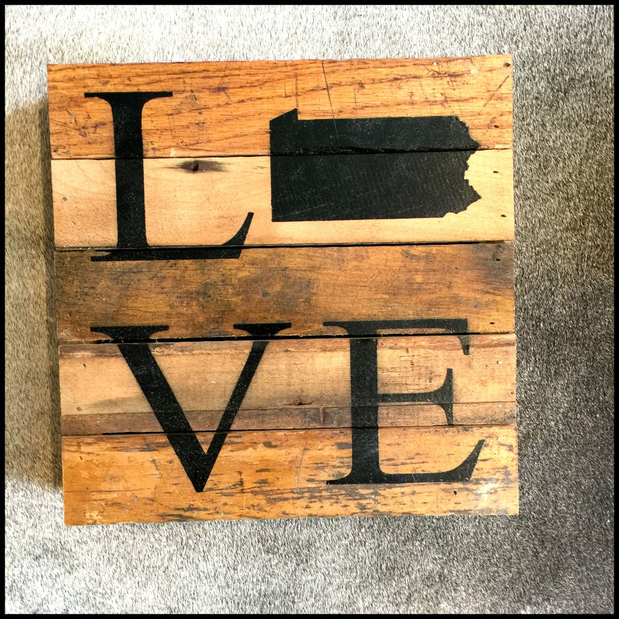 PA Love Reclaimed Wood Sign