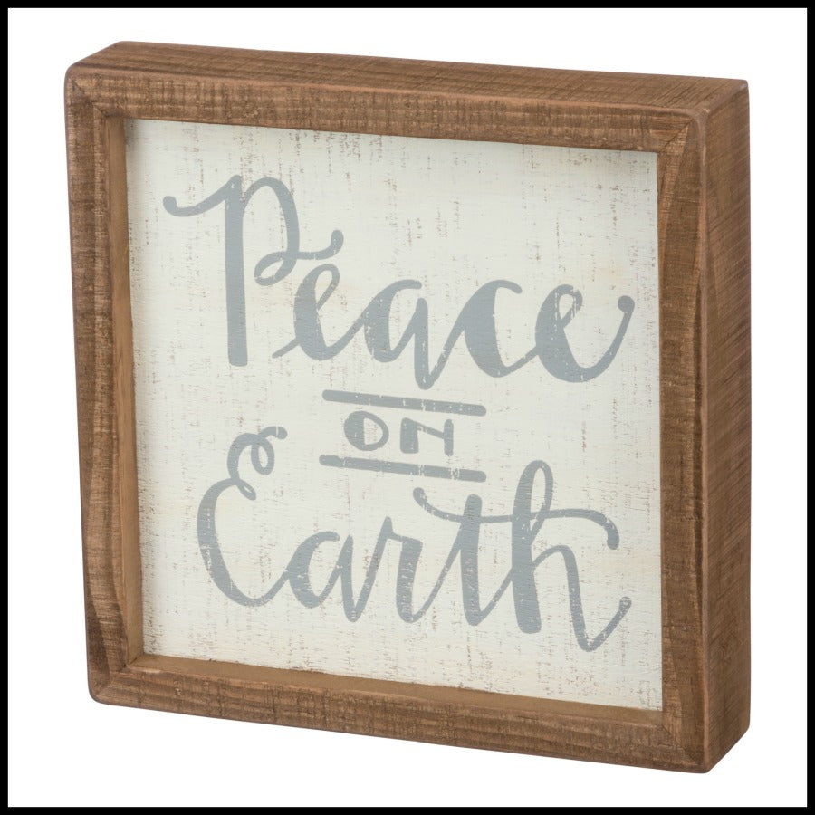 """Peace on Earth"" Inset Block Sign"