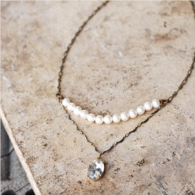 Pearls & Large Jewel Necklace