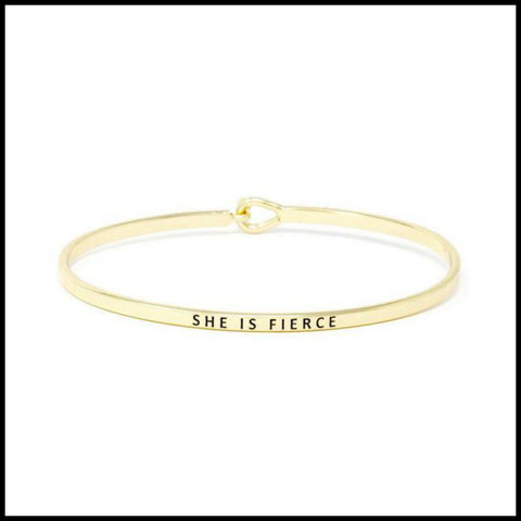 """She is Fierce"" Message Bracelet"