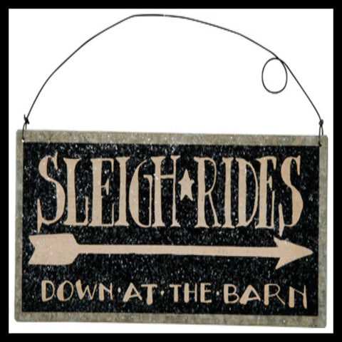 Sleigh Ride Black Sign