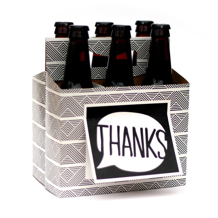 """THANKS"" Six Pack Carrier/Greeting Card"