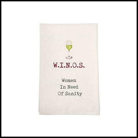 """W.I.N.O.S"" Towel by Mud Pie"