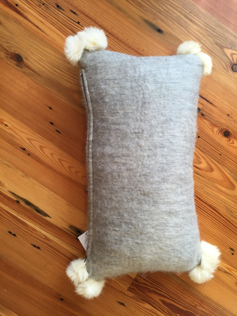 Mohair Pillow with Poms