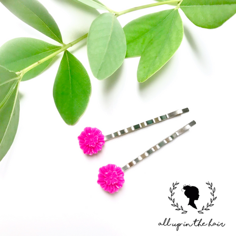 All Up In The Hair - Dark Pink Flower Bobby Pins