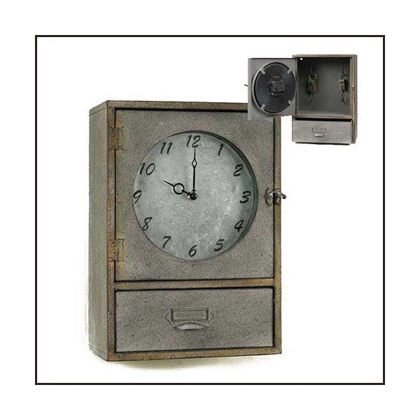 Industrial Metal Clock Cabinet with Drawer
