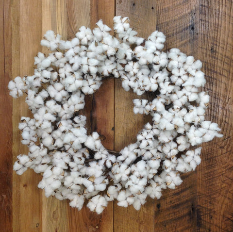 Faux Cotton Wreath 28""