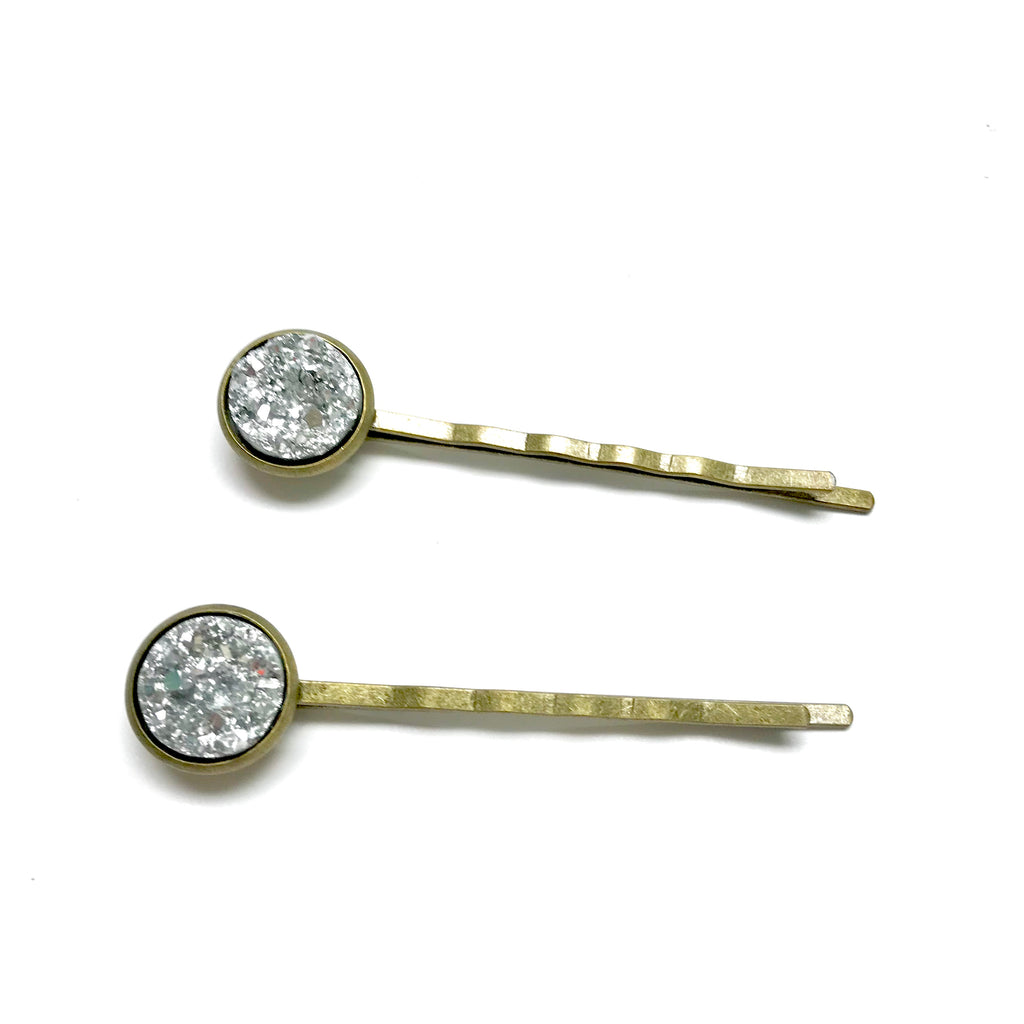 All Up In The Hair - Light Silver Druzy Bobby Pins