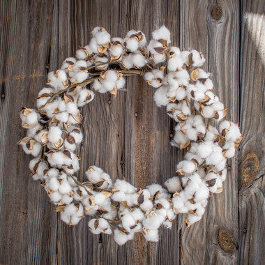 Faux Cotton Wreath 22""