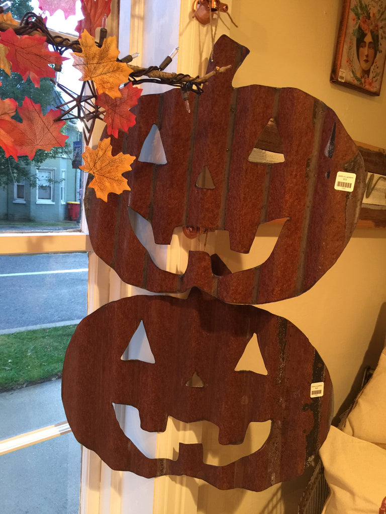 Recycled Tin Roof Jack-o-Lantern