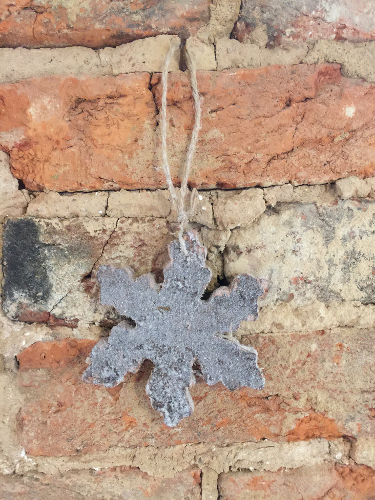 Birch Bark Glitter Snowflake Ornament