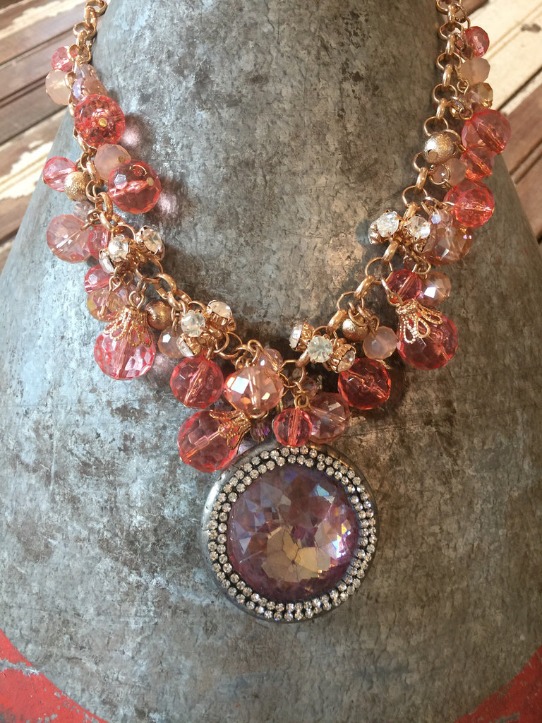 Blush Bead Chandelier Drop Necklace