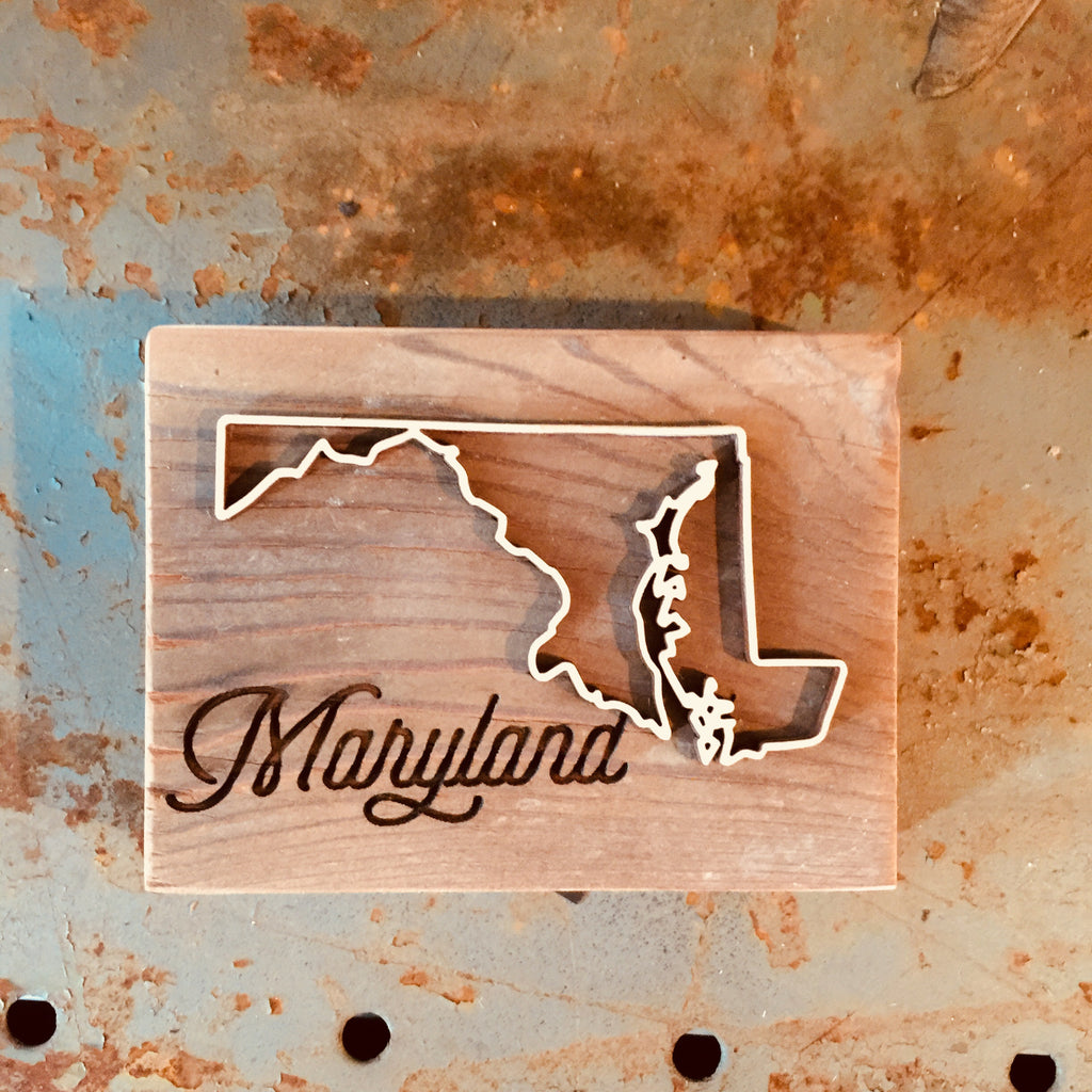 MD (Maryland) Reclaimed Barnwood Script Plaque