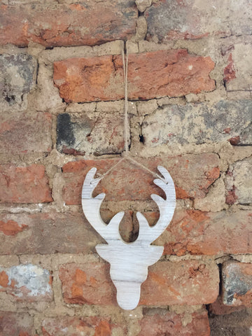 White Washed Wood Deer Head Ornament