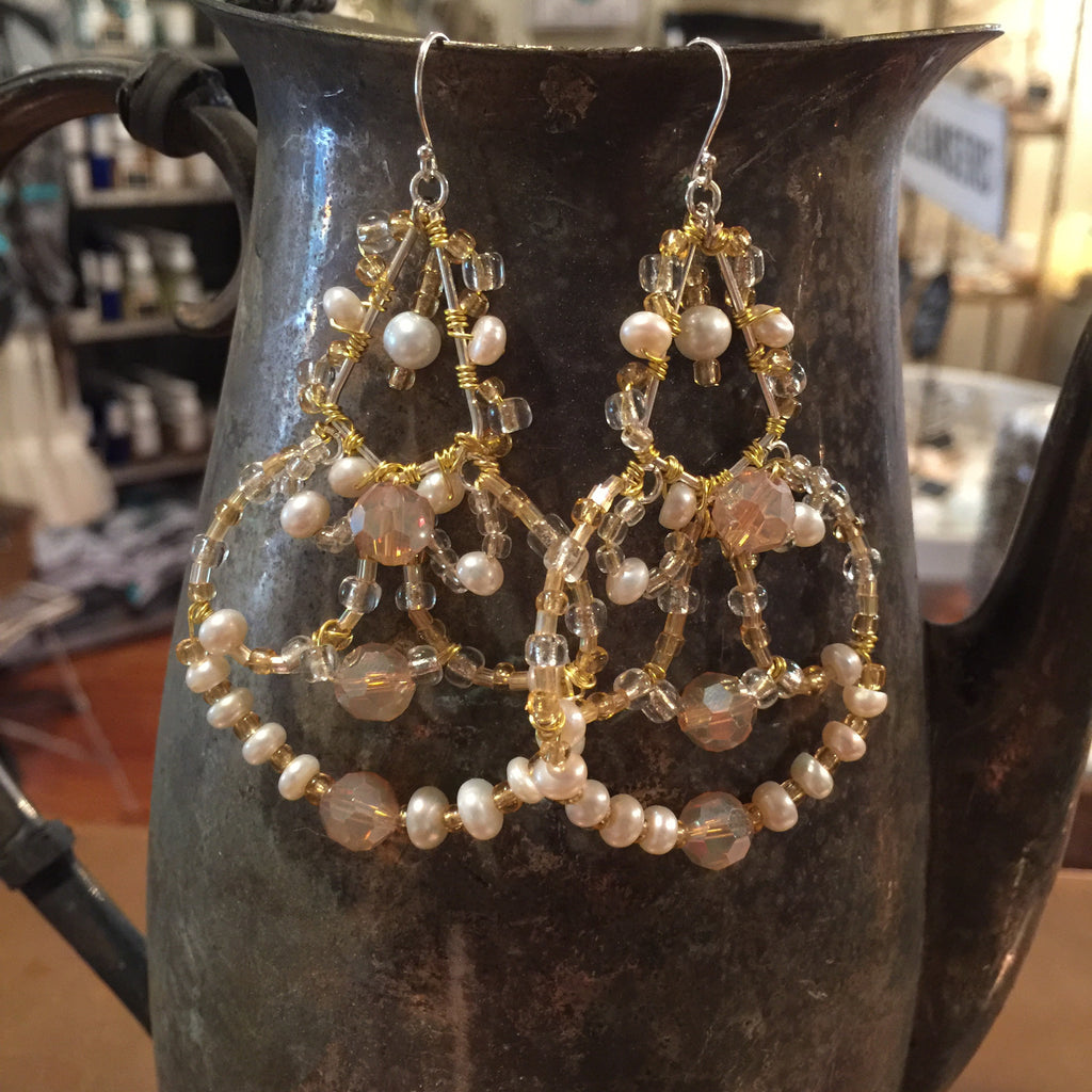Freshwater Pearl/Golden Dream Boho Chandelier Earring
