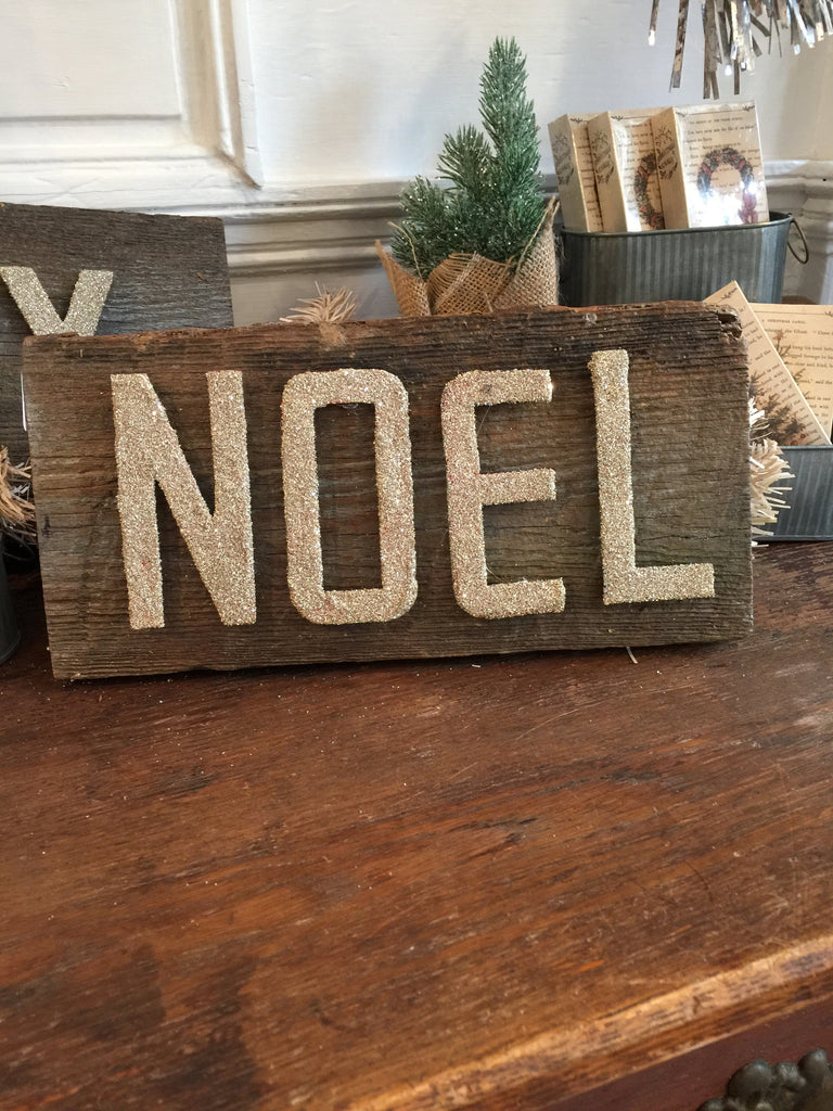 "Glitter ""Noel"" Barn Wood Sign"