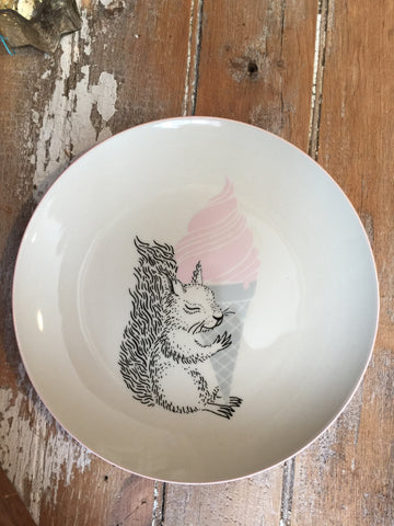 "Squirrel 10"" Plate, Pink"