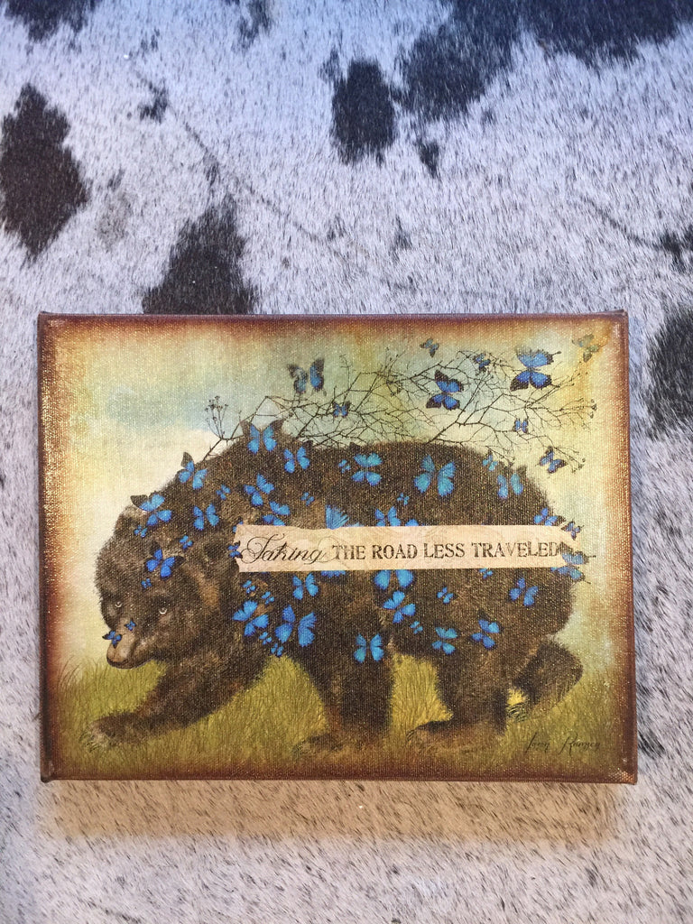 """Taking the Road Less Traveled"" Bear and Butterflies Canvas Art 8""x 10"""