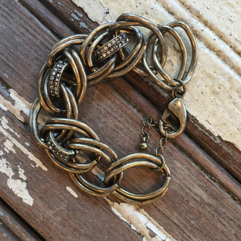 Antique Gold DoubleBling Link Toggle Bracelet