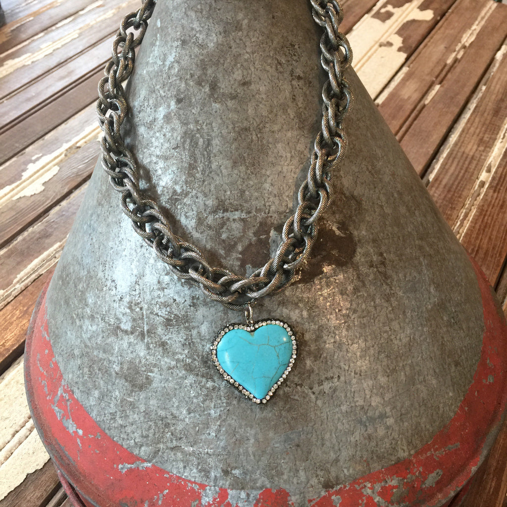 Burnished Silver Chain with Bling Heart Necklace