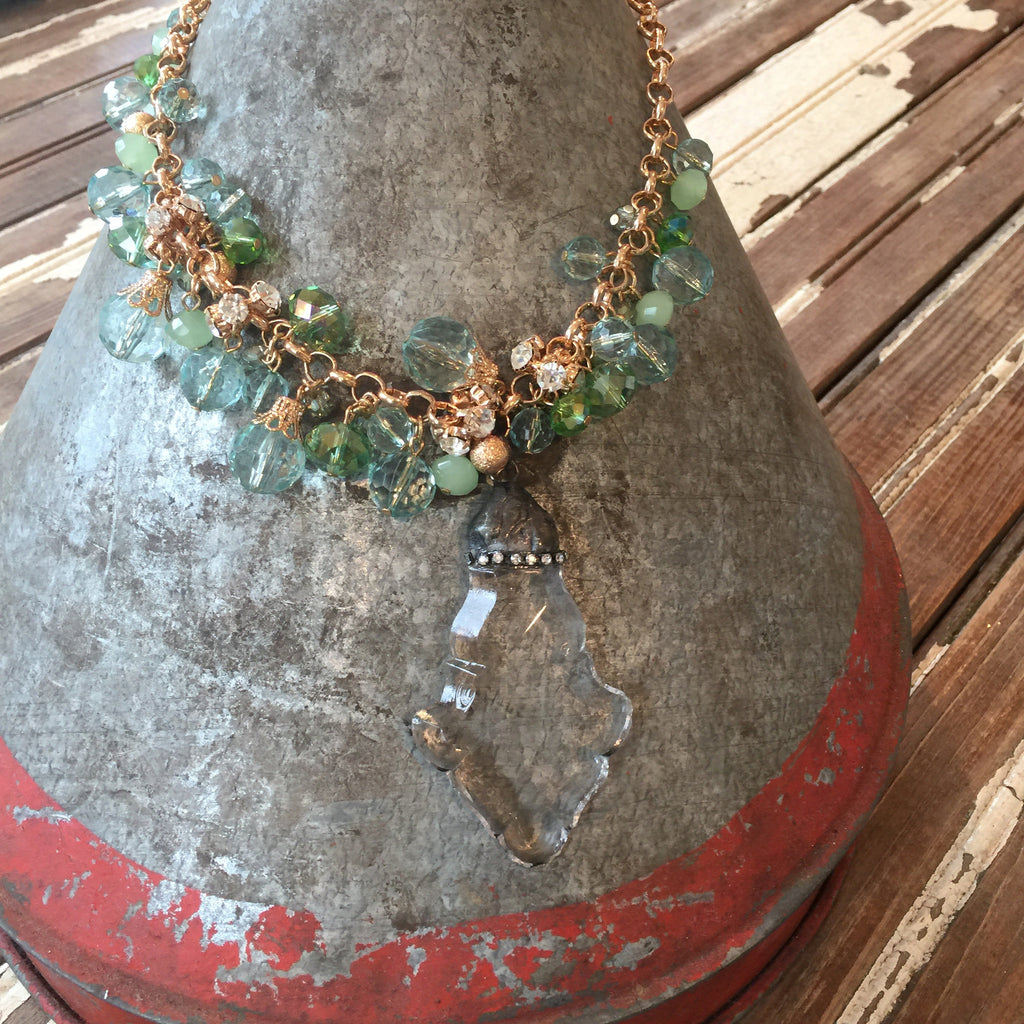 Mint Bead Chandelier Drop Necklace