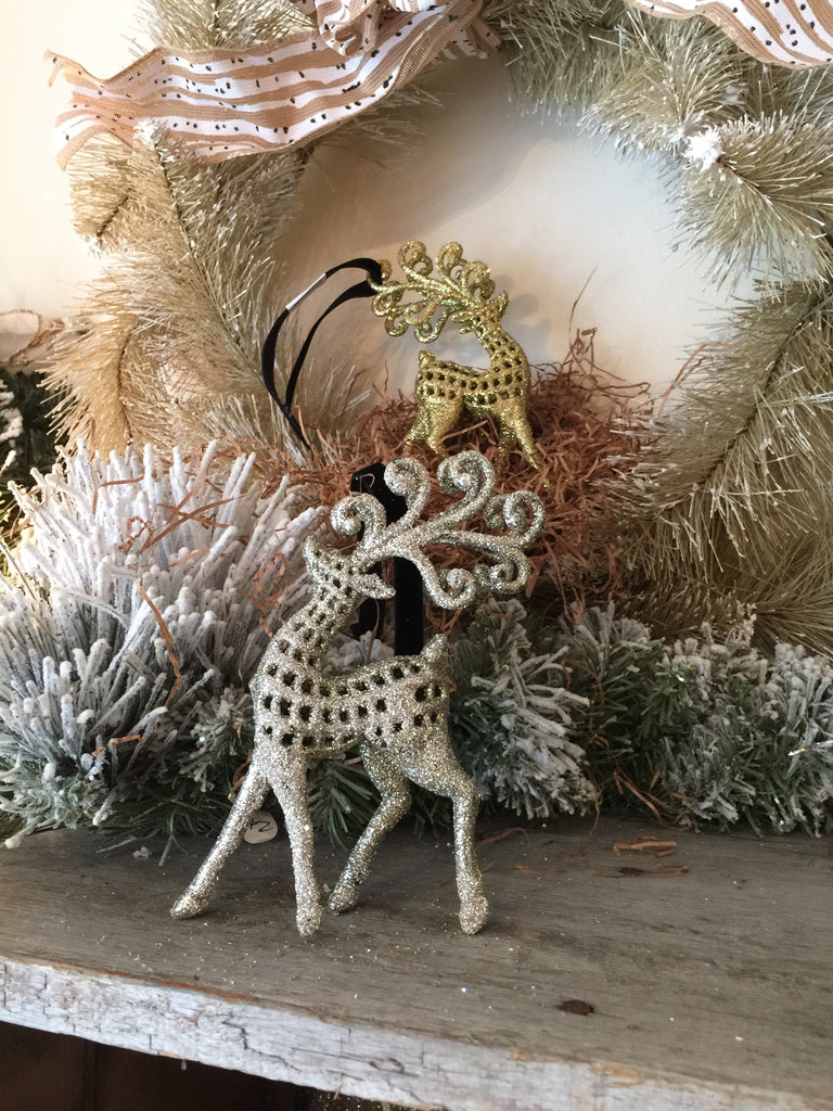 Silver Scroll Deer Ornament