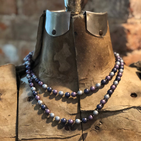 Eggplant Multi Matte Pearl Necklace