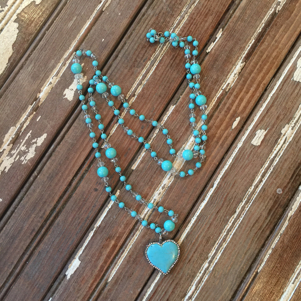 Turquoise Bling Heart Necklace