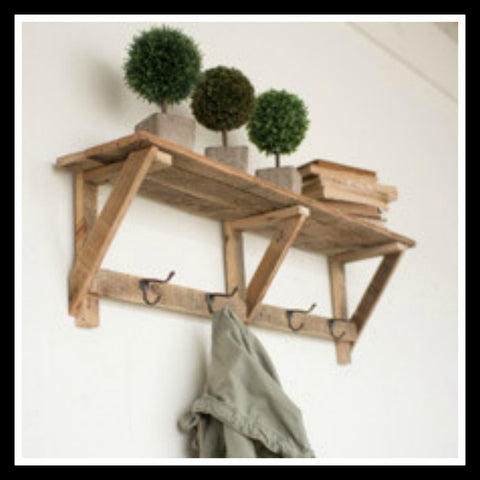Recycled Wood Shelf with 4 Hooks