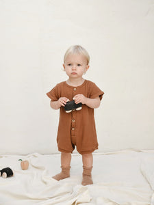 Cotton Playsuit for Kids in Golden
