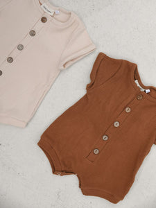 Cotton Playsuit for Kids in Sand and Golden
