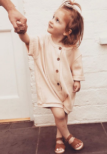 Cotton Playsuit for Kids in Beige by Tiny Trove