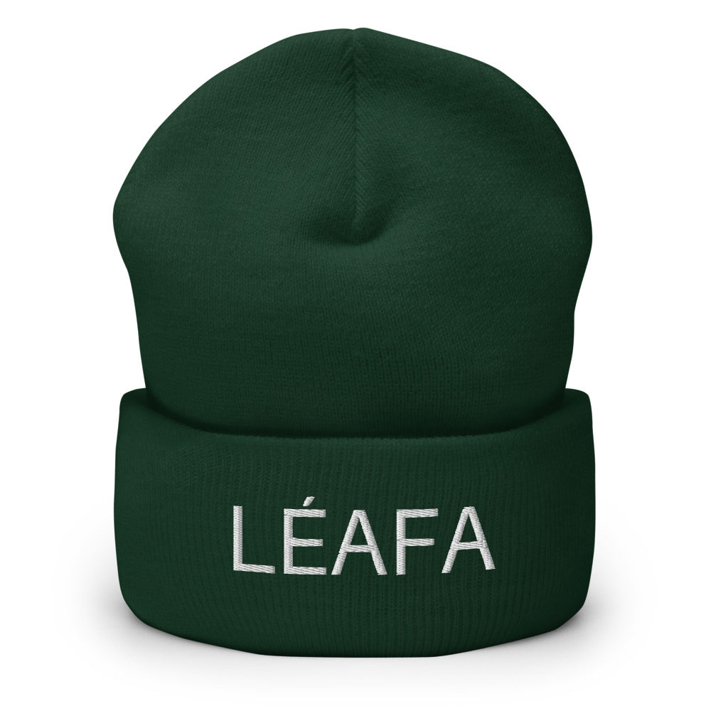 White Embroidery LÉAFA Cuffed Beanie