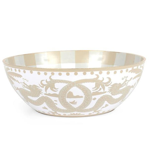 White & Taupe Milly Lilly Bowl Large
