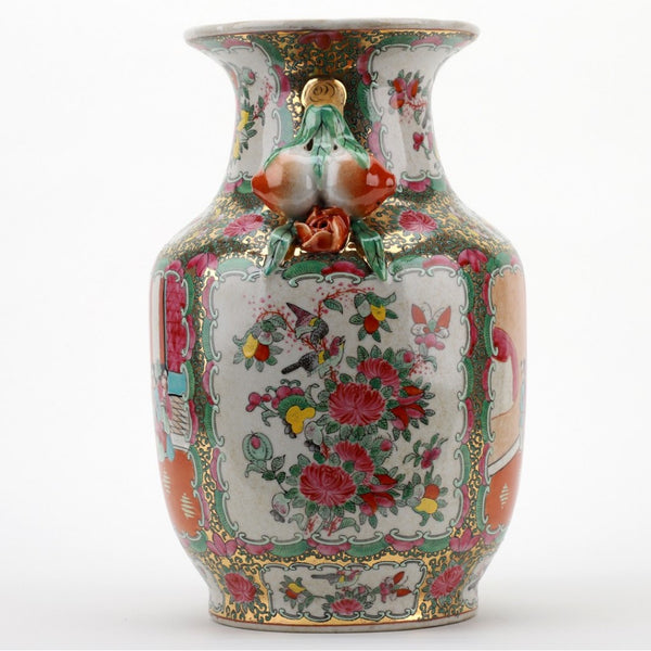 Rose Medallion Handled Vase