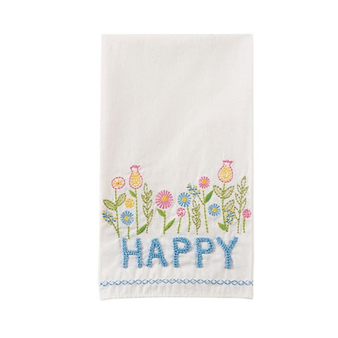 Happy Embroidered Tea Towel