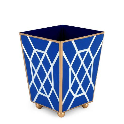 Blue/White Don't Fret Square Wastebasket