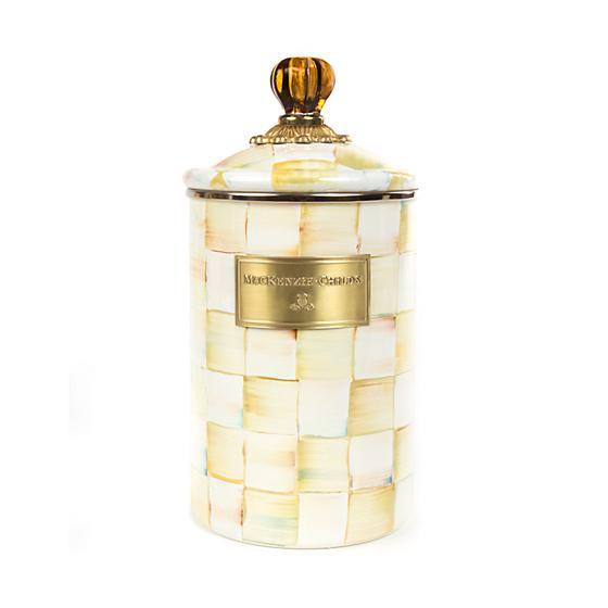Parchment Check Enamel Canister Large