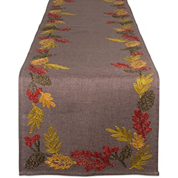 Shimmering Leaves Embroidered Table Runner