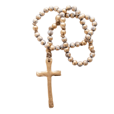 Rosary Beads Gray/Gold 23""