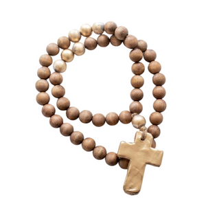 Brown Blessing Beads with Gold Pendant 30""