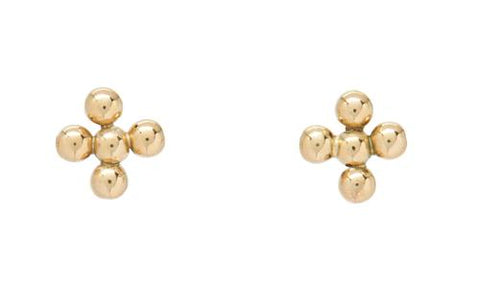 Classic Beaded Halo Stud 3mm Beaded Gold Earrings