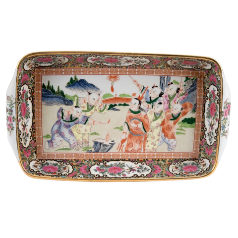 Rose Medallion Rectangular Tray with Handles