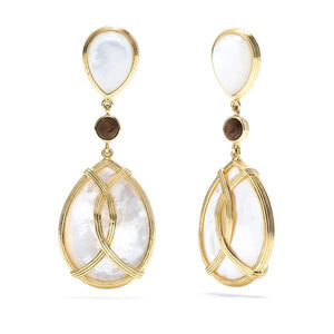 Monique Mother Of Pearl & Teak Teardrop Earrings