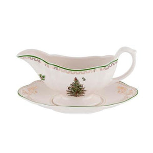 Christmas Tree Gold Sauce Boat and Stand