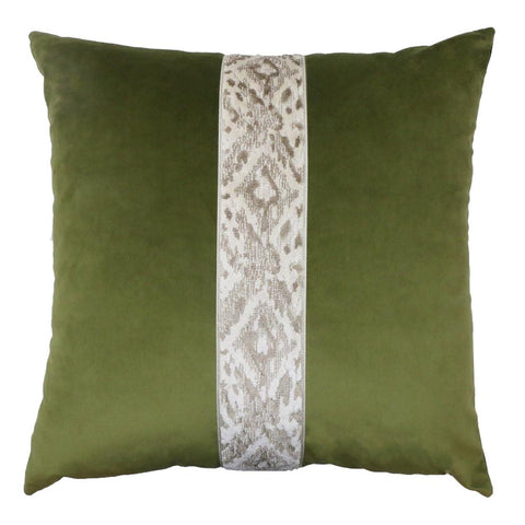 Addison Avocado & Chocolate Velvet Pillow 22""
